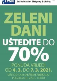 Jysk ponuda - JYSK Katalog - ZELENI DANI - UŠTEDITE 70% - Akcija sniženja do 07.03.2021